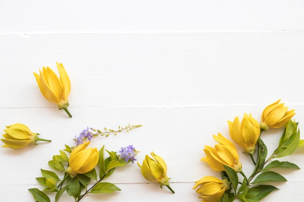 Arranjo de flores de ylang ylang estilo cartão postal