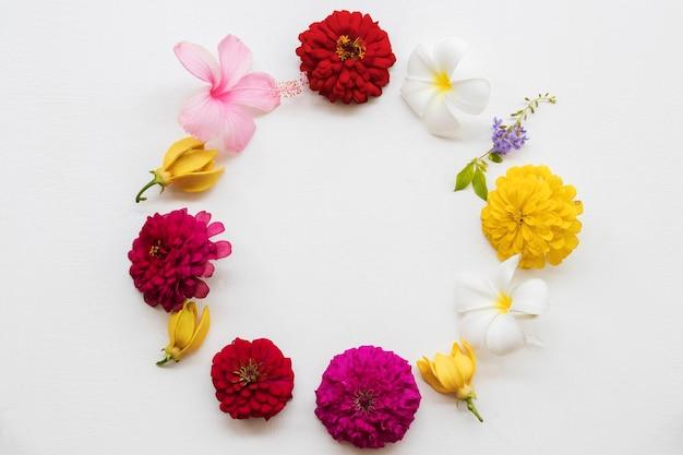 Arranjo de flores na moldura do círculo