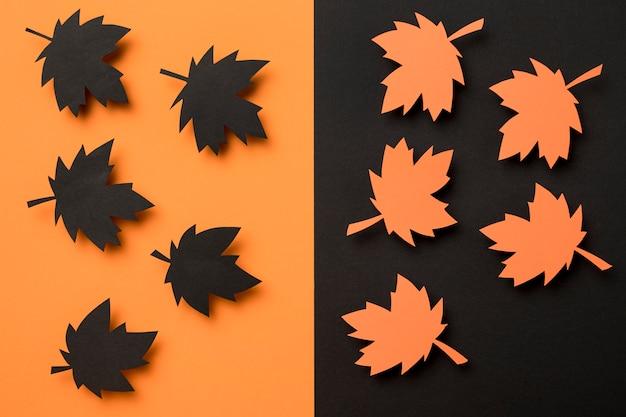 Arranjo de folhas de outono plana leigos