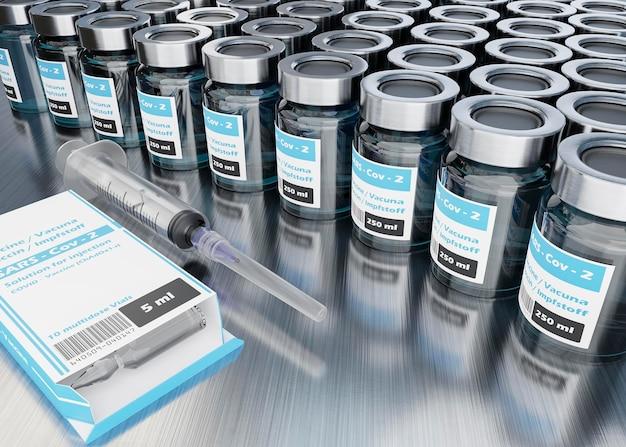 Arranjo de frascos de vacina de alto ângulo