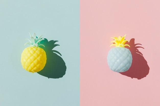 Arranjo de frutas abacaxi vista superior