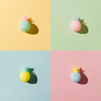 Arranjo de frutas de abacaxi plana