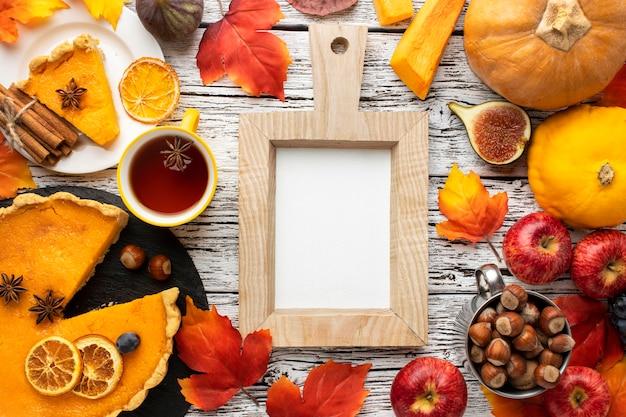 Arranjo de frutas de outono e espaço de cópia