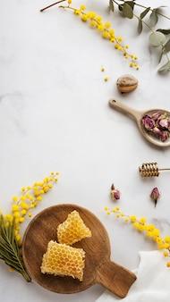 Arranjo de ingredientes de sabão plano