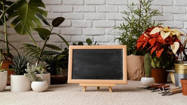 Arranjo de jardim doméstico com quadro-negro vazio