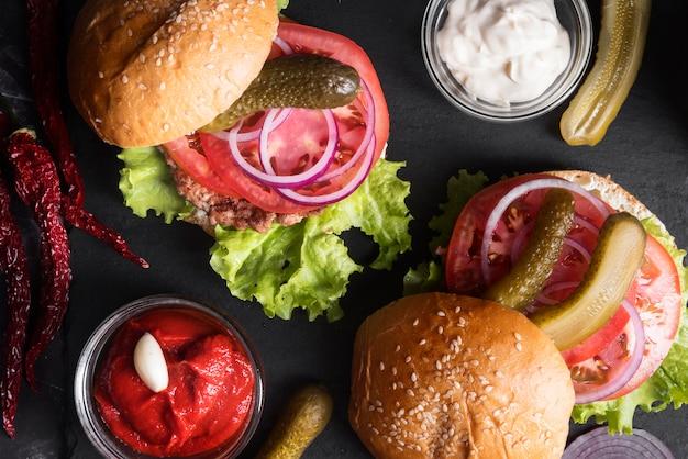 Arranjo de menu de hambúrguer de vista superior