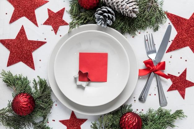 Arranjo de mesa festiva de natal plana lay