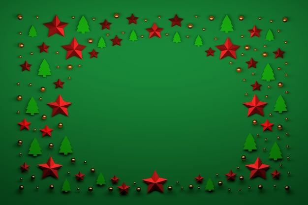 Arranjo de natal simples com pequenos objetos decorativos festivos dispostos em círculo