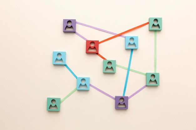 Arranjo de natureza morta de conceito de rede