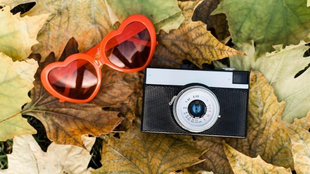 Arranjo de outono com câmera e óculos em forma de coração