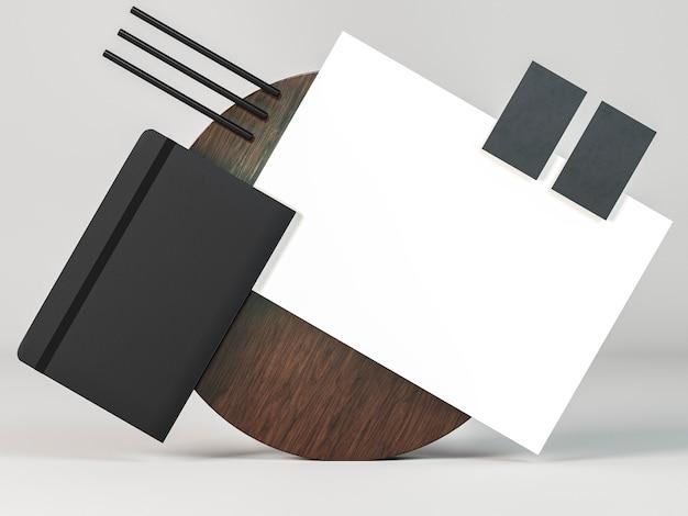 Arranjo de papelaria comercial, cópia do espaço, vista frontal