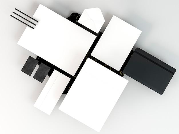 Arranjo de papelaria comercial, cópia do espaço, vista superior