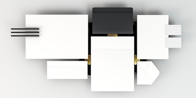 Arranjo de papelaria comercial cópia espaço plano lay