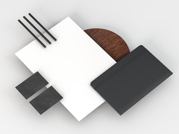 Arranjo de papelaria comercial cópia espaço vista elevada