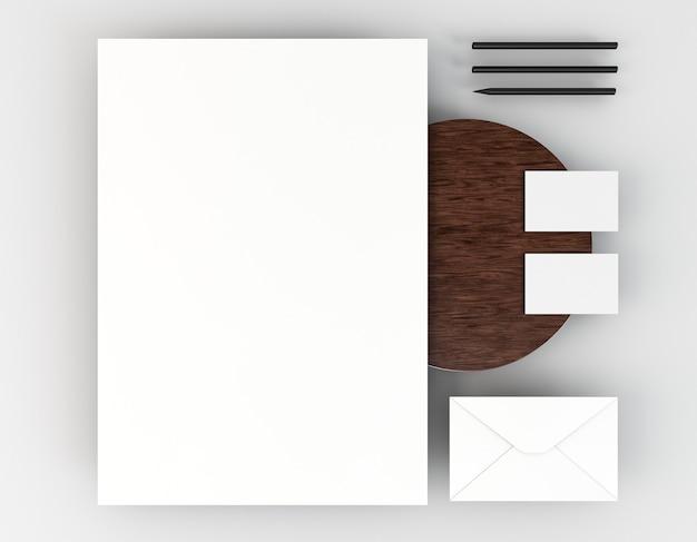 Arranjo de papelaria corporativa em branco
