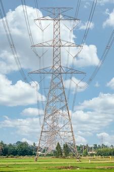Arranjo de poste de alta tensão, torre de transmissão em campo de arroz com céu azul no campo