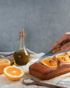 Arranjo de receita saudável com laranjas