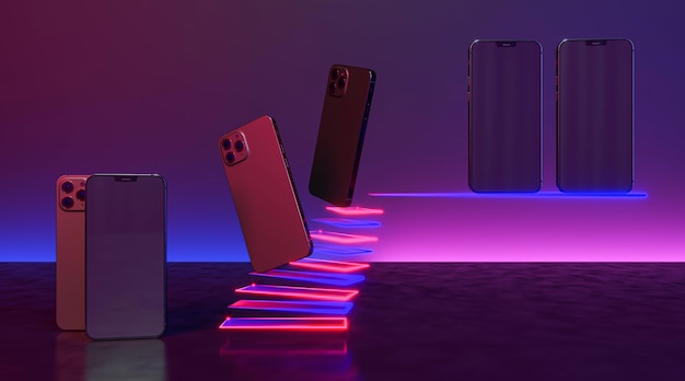 Arranjo de smartphones com luz neon