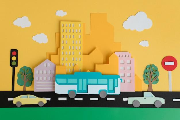 Arranjo de transporte urbano de papel
