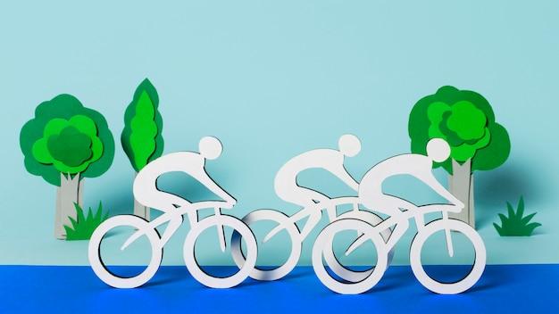 Arranjo de vista frontal das formas olímpicas de papel