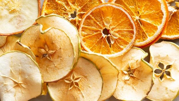 Arranjo de vista superior com frutas secas