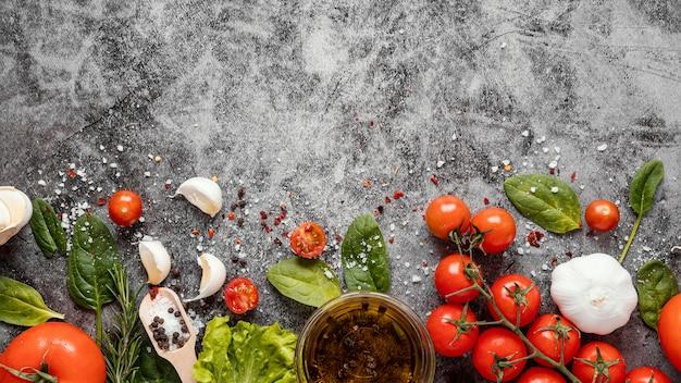 Arranjo de vista superior de alimentos saudáveis para aumentar a imunidade
