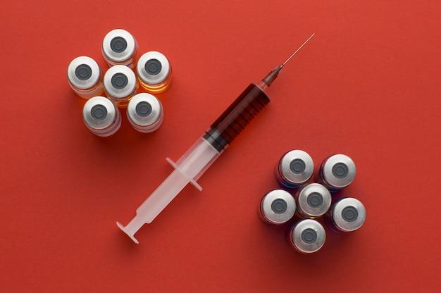 Arranjo do frasco da vacina contra o coronavírus