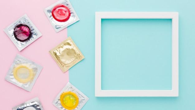 Arranjo do método contraceptivo com moldura vazia