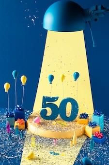 Arranjo festivo de 50 anos com balões
