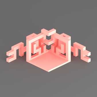 Arranjo isométrico abstrato de um cubo em expansão