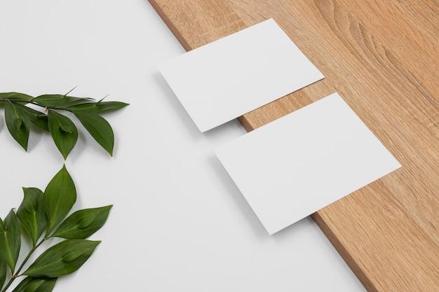 Arranjo mínimo de vista superior com cartões brancos e folhas
