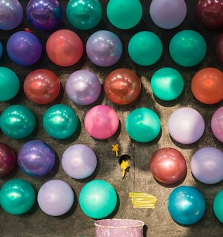 Arranjo para o jogo de balões no parque temático