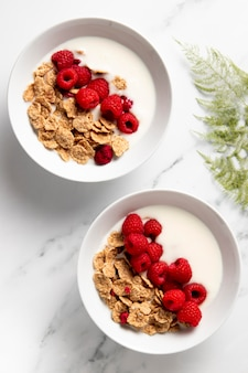 Arranjo plano de cereais saudáveis