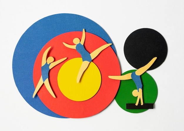 Arranjo plano de formas olímpicas de papel