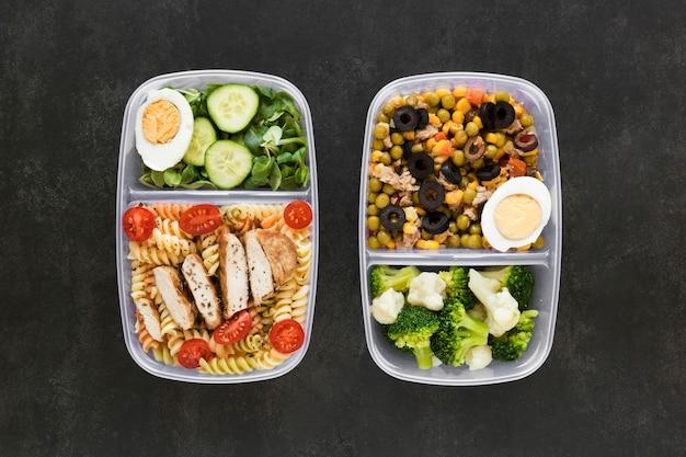 Arranjo plano leigo nutrir alimentos