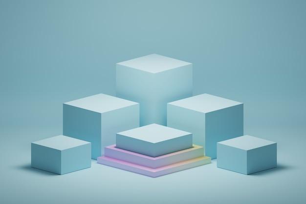 Arranjo simples de pódios de pedestais de cubos azuis de apresentação
