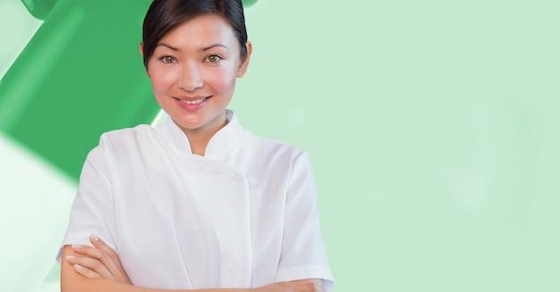 Arranjo terno verde caixa de papelão de bem-estar