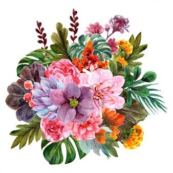 Arranjos florais em aquarela
