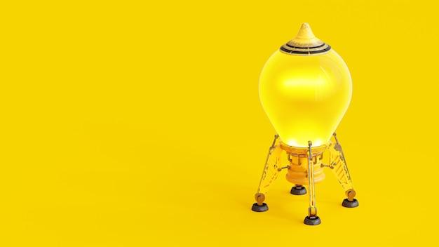 Arranque e conceito mínimo. foguete que se parece com uma lâmpada amarela com traçado de recorte e espaço de cópia para seu texto, renderização em 3d.