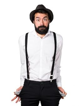 Arrazoado homem hipster com barba