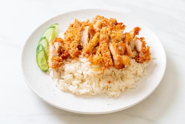 Arroz de frango hainanese com frango frito ou sopa de frango no vapor com arroz e frango frito