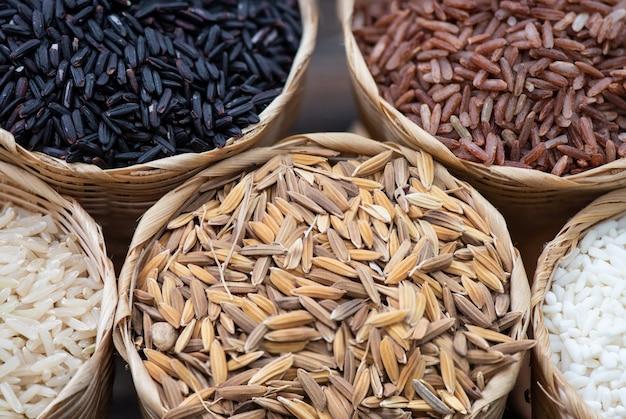 Arroz, riceberry, arroz integral de jasmim, arroz integral vermelho de jasmim e arroz em casca na superfície da natureza.