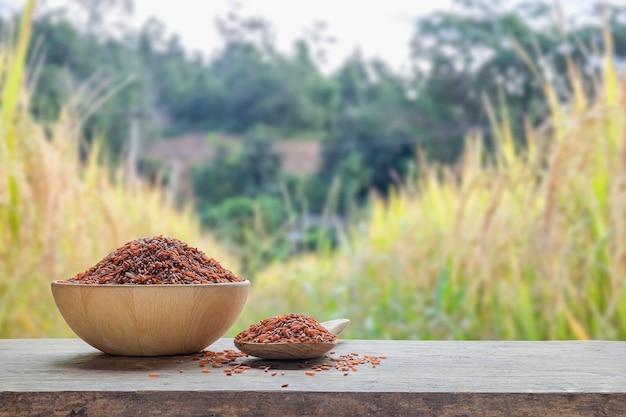 Arroz vermelho em tigela de madeira e colher de pau com o fundo do campo de arroz