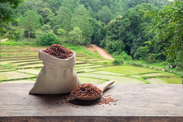 Arroz vermelho em um saco e colher de madeira com o campo de arroz em terraços