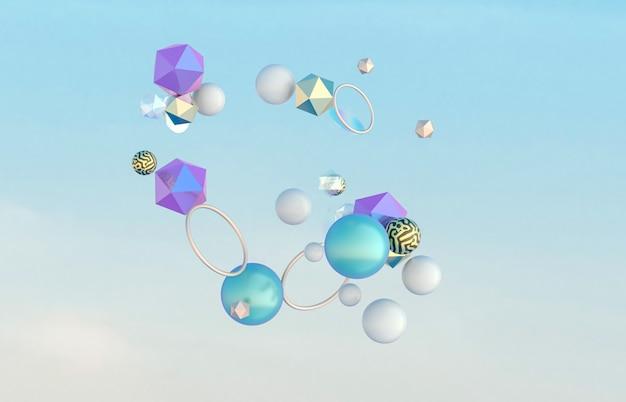 Arte 3d abstrata com forma geométrica flutuando no céu.
