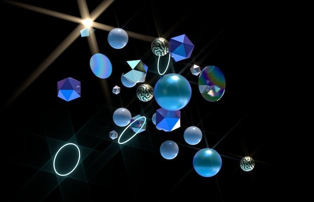 Arte 3d abstrata com forma geométrica flutuante