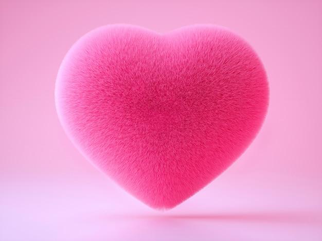 Arte 3d com travesseiro macio fofo em forma de coração no fundo rosa claro