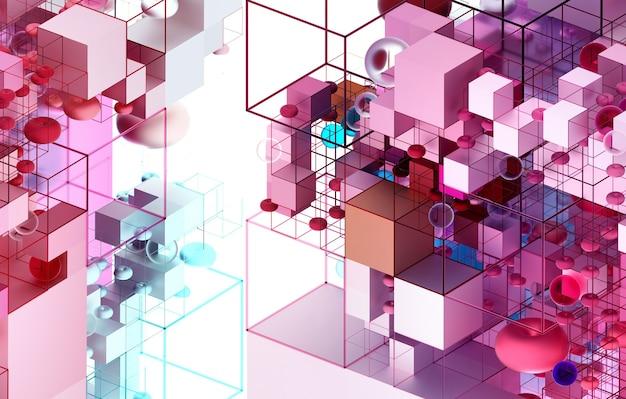Arte abstrata 3d com figuras de geometria 3d como cubos, esferas e toro como construção civil