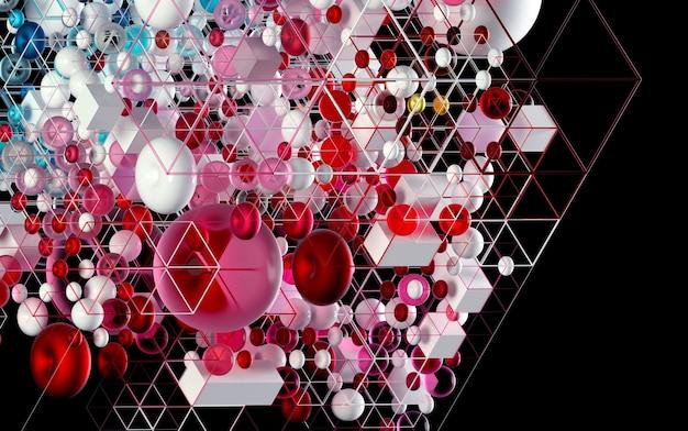 Arte abstrata 3d com figuras de geometria 3d como cubos, esferas e toro em metal roxo e azul