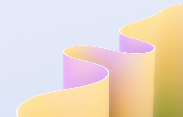 Arte abstrata 3d com forma de curva.